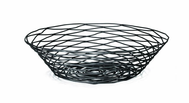 Artisan Black-Coated Metal Round Basket - 12