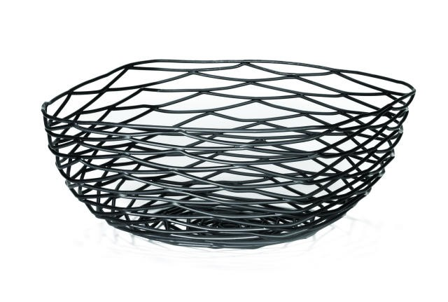 Artisan Black-Coated Metal Square Basket - 10