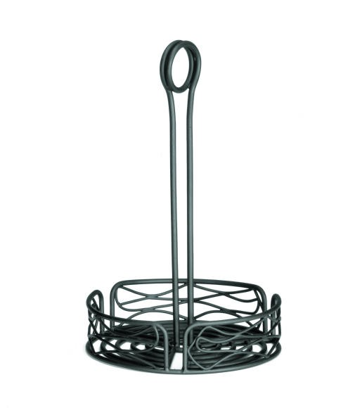 "TableCraft BK1595 Artisan Black Vera Condiment Rack 5.95"" Dia."