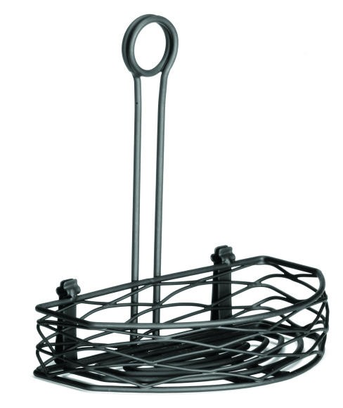 "TableCraft BK167912 Artisan Black Versa Condiment Half-Rack 8"" x 5-3/4"""