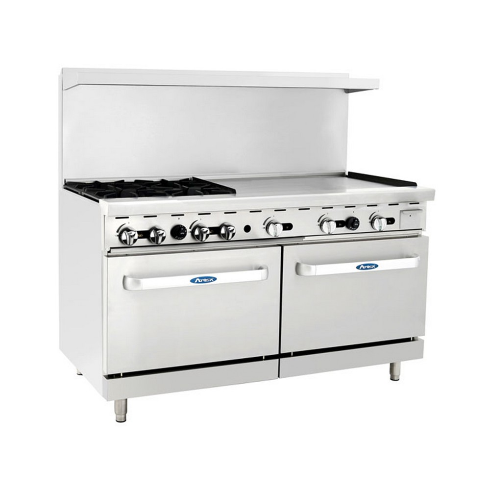 "Atosa ATO-4B36G 60"" Gas Range, (4) Open Burners with 36"" Right Griddle and (2) 26-1/2"" Ovens"