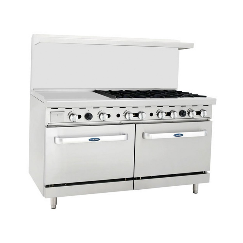 """Atosa ATO-24G6B 60"""" Gas Range, (6) Open Burners with 24"""" Left Griddle and (2) 26-1/2"""" Ovens"""