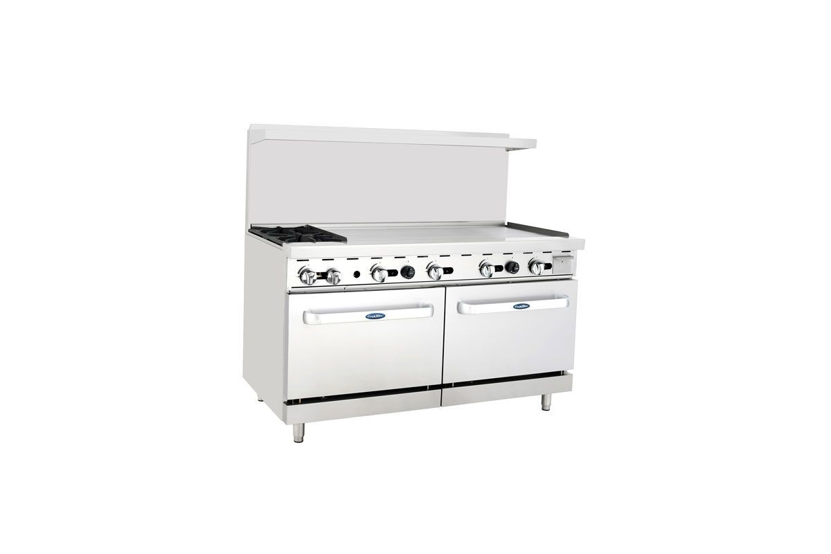 "Atosa ATO-2B48G 60"" Gas Range, (2) Open Burners with 48"" Right Griddle and (2) 26-1/2"" Ovens"