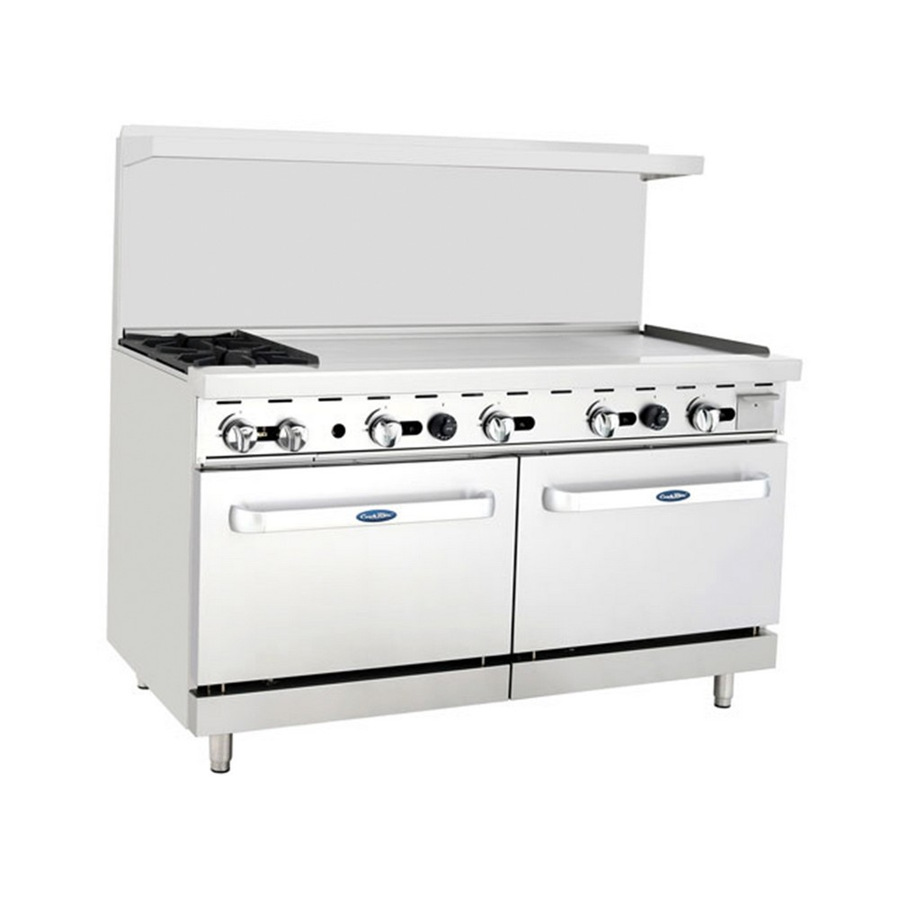 """Atosa ATO-2B48G 60"""" Gas Range, (2) Open Burners with 48"""" Right Griddle and (2) 26-1/2"""" Ovens"""