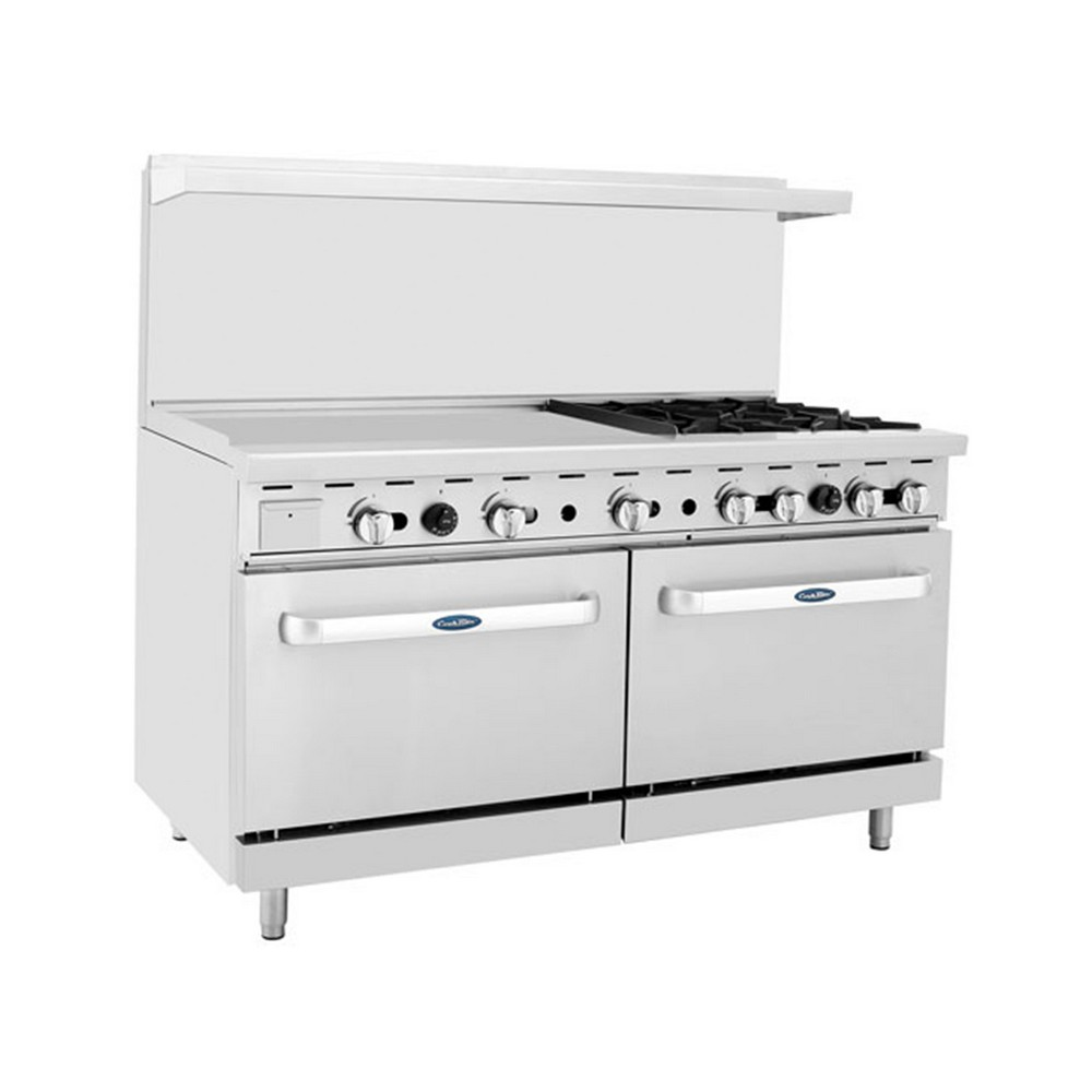 "Atosa ATO-36G4B 60"" Gas Range, (4) Open Burners with 36"" Left Griddle and (2) 26-1/2"" Ovens"