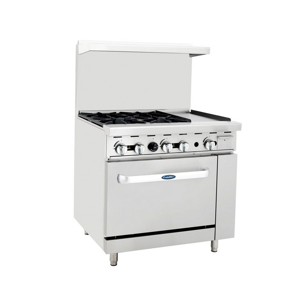 "Atosa ATO-4B12G 36"" Gas Range, (4) Open Burners with 12"" Right Griddle and (1) 26-1/2"" Oven"
