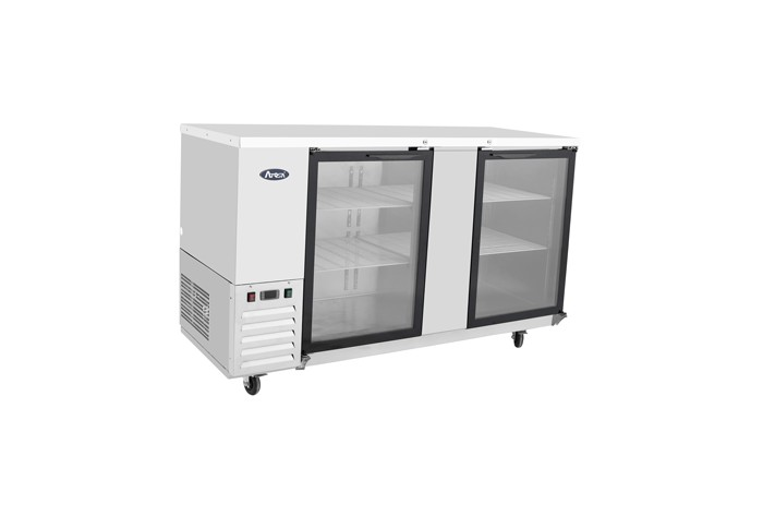 """Atosa MBB69G-GR Stainless Steel Back Bar Cooler with Glass Door 69"""""""