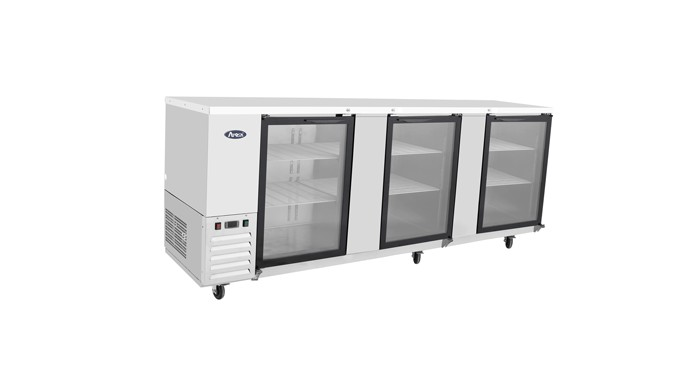 """Atosa MBB90G-GR Stainless Steel Back Bar Cooler with Glass Door 90"""""""