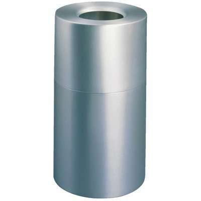 Atrium Aluminum Radius Top Waste Container, Round, 35 gal, Hammered Silver