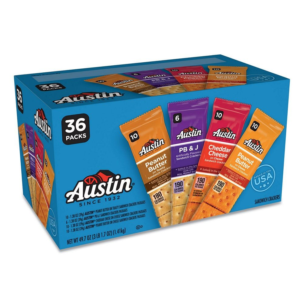 Variety Pack Crackers, Assorted Flavors, 1.38 oz. Pack, 36/Box