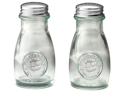TableCraft 6618 Authentic Recycled Green 4 oz. Glass Shakers