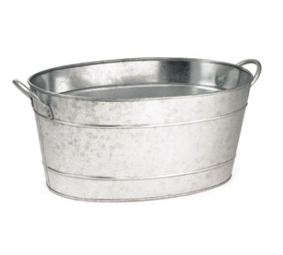 "Galvanized Steel Oval Beverage Tub, 19"" x 14"" x 9"""