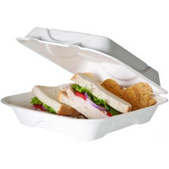 Bagasse Hinged Clamshell Containers, 9w x 9d x 3h, White
