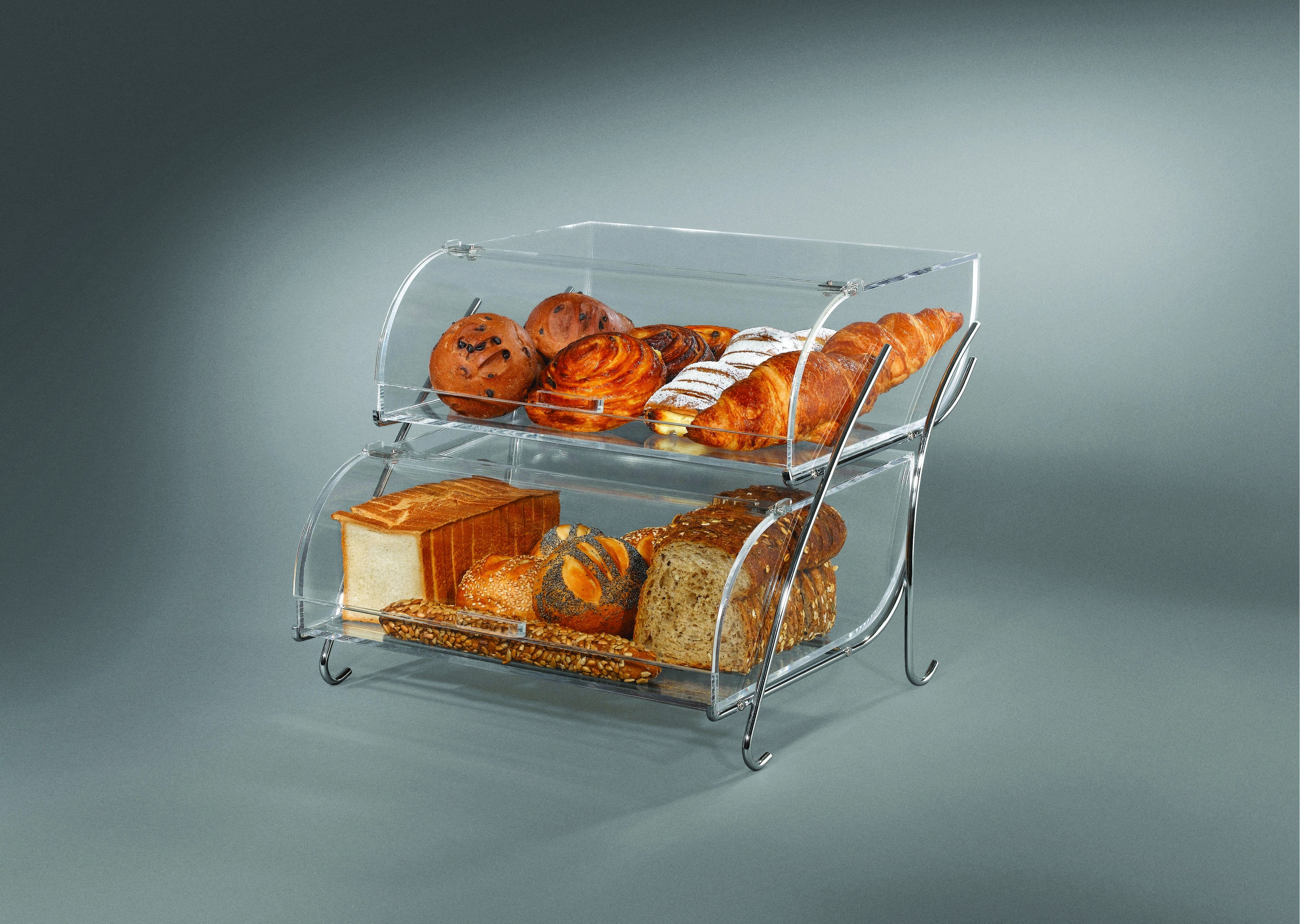 "Rosseto BAK2937 Two-Tier Clear Acrylic Bakery Display Case With Chrome Plated Wire Stand- 16"" x 18"" x 14"""