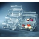 "Rosseto BAK1210 Three-Tier Clear Acrylic Bakery Display Case With Acrylic Stand 22"" x 15"" x 19"""