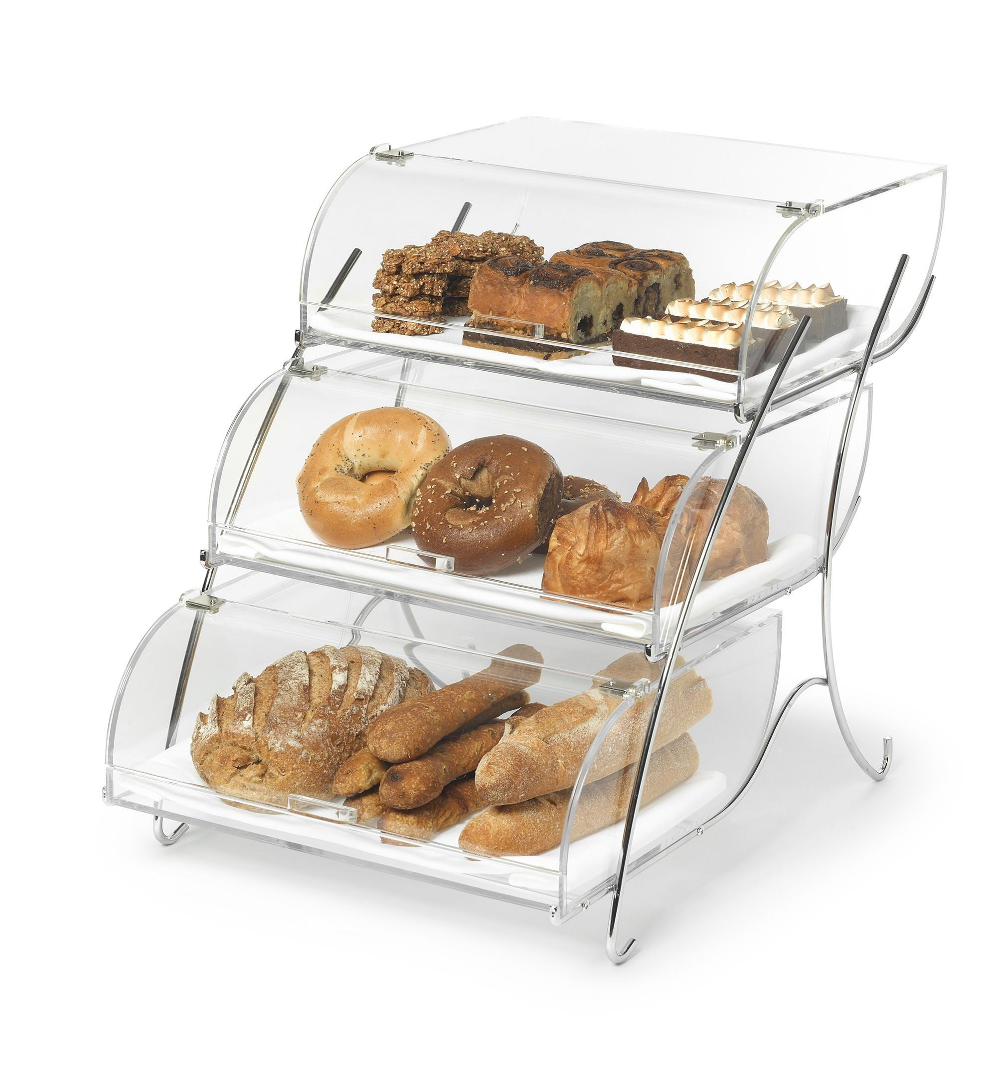 Bakery Case  3 Bin Clear Acrylic w / Chrome Plated Wire Stand- 23