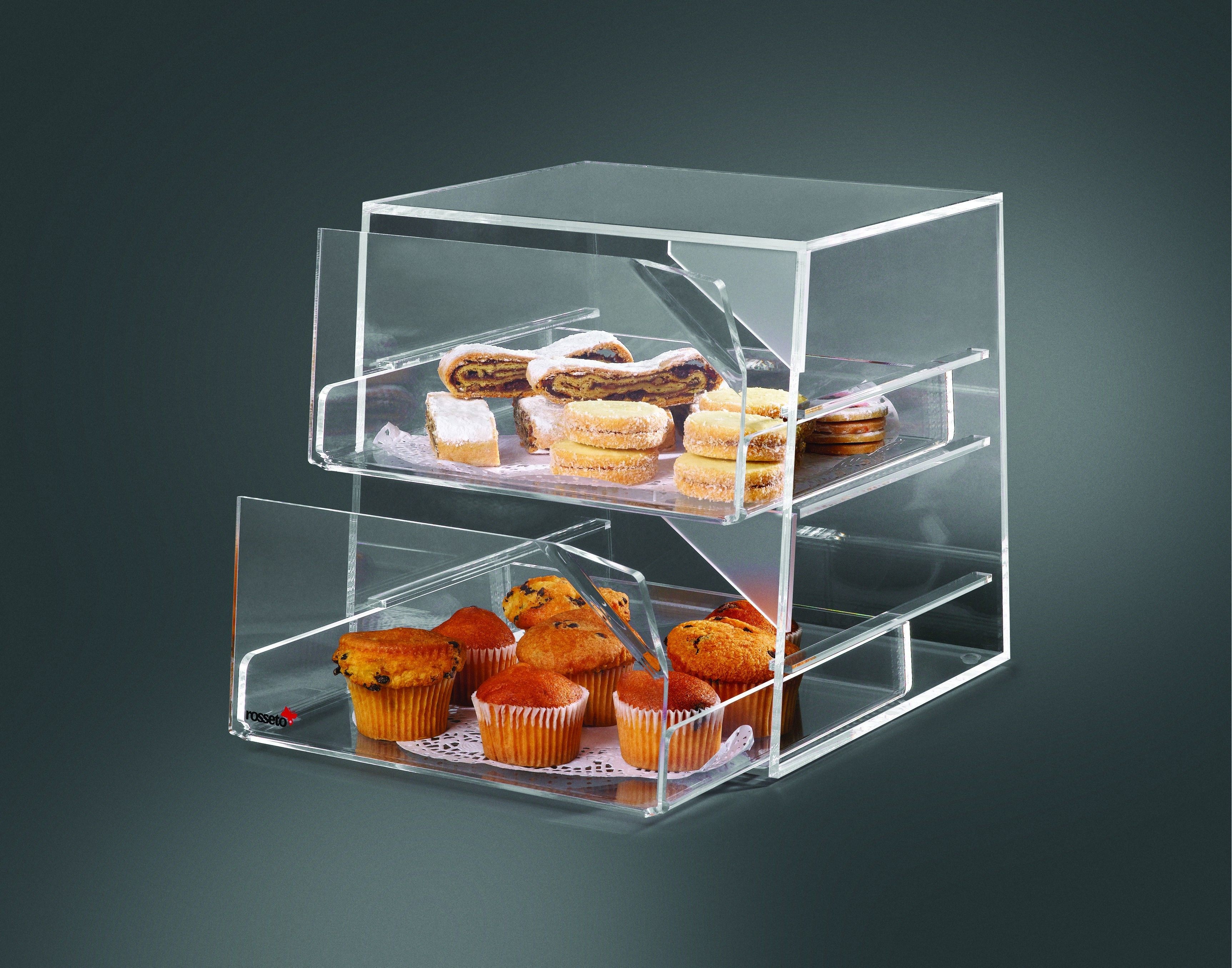 "Rosseto BAK2231 Two-Drawer Clear Acrylic Bakery Display Case 11"" x 12"" x 12"""