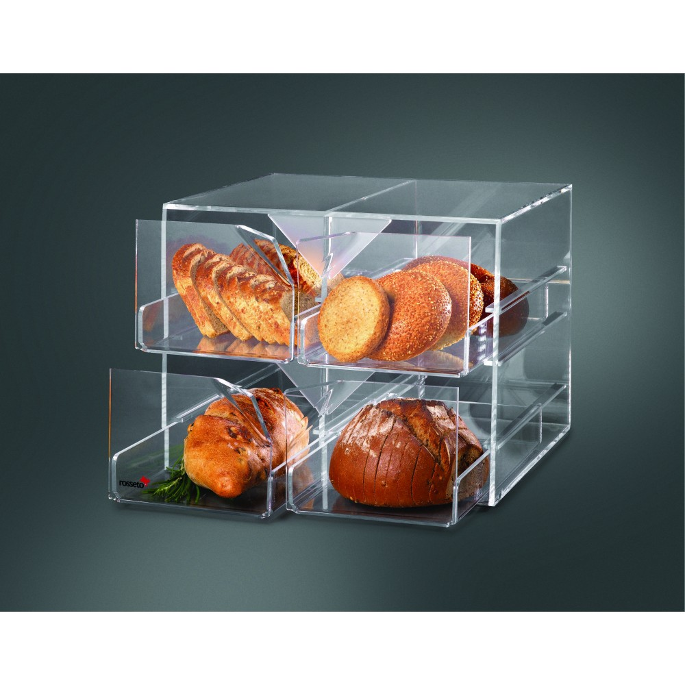 "Rosseto D13700 Four-Drawer Clear Acrylic Bakery Display Case 14"" x 7"" x 6"""
