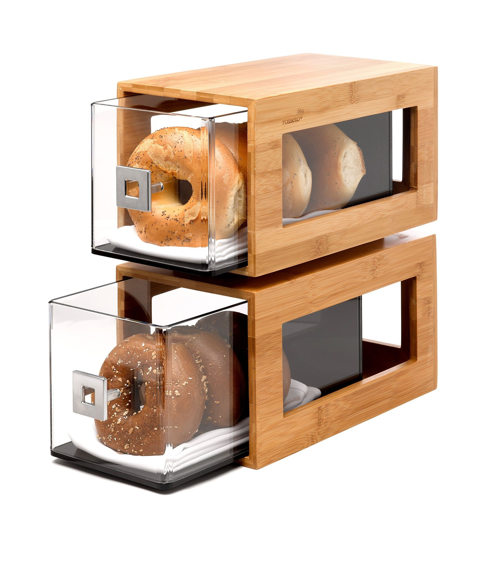 "Rosseto BD102 Two-Tier Bamboo Bakery Display Column With Clear Acrylic Drawers- 12.8"" x 6.85"" x 14"""