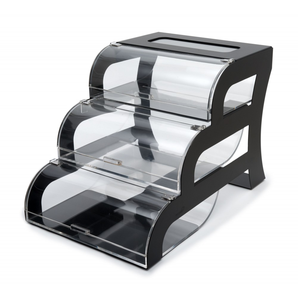 "Rosseto BK011 Three-Tier Clear Acrylic Bakery Display Case with Black Steel Stand 15.25"" x 23.25"" x 15.5"""