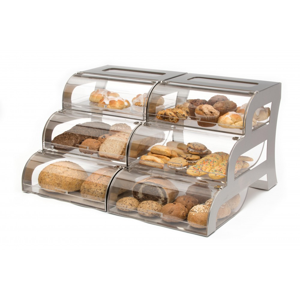 "Rosseto BK010 Three-Tier Clear Acrylic Bakery Display Case With Stainless Steel Stand 23.25"" x 15.25"" x 15.5"""