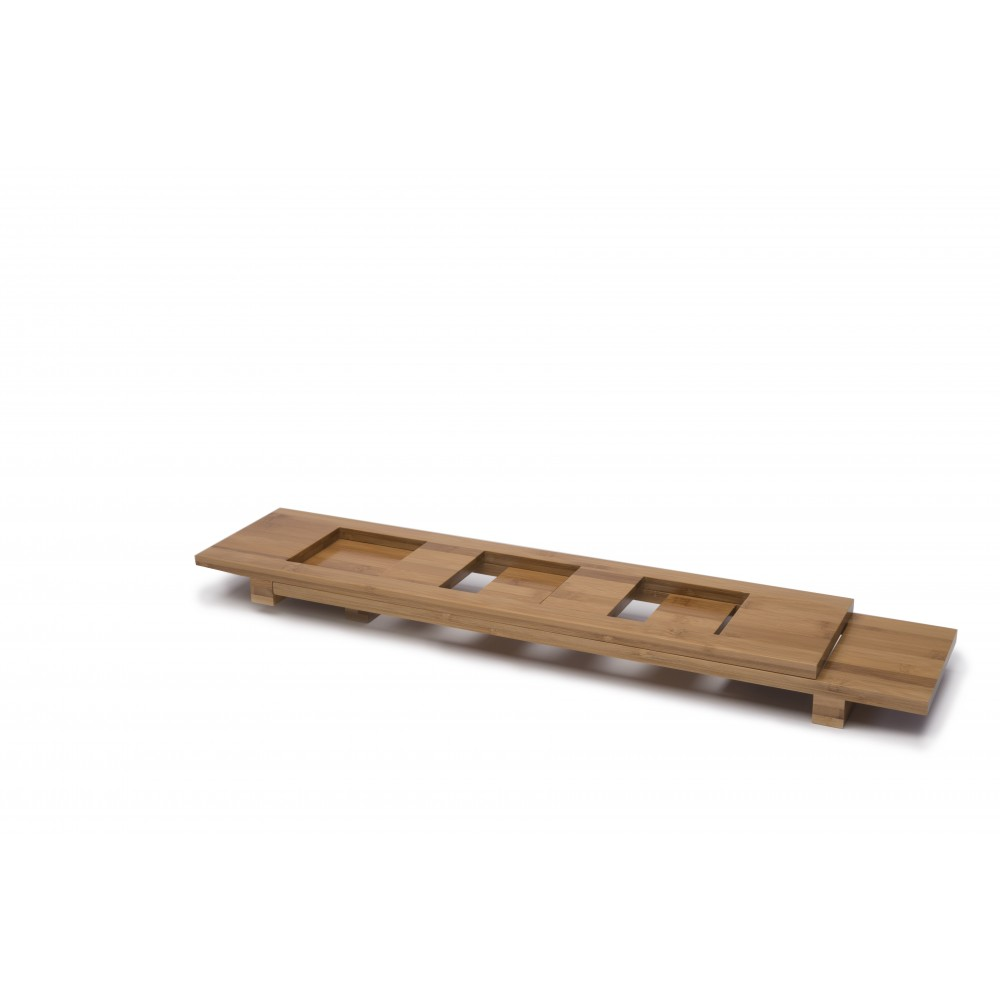Bamboo Rectangular Bowl Tray X3