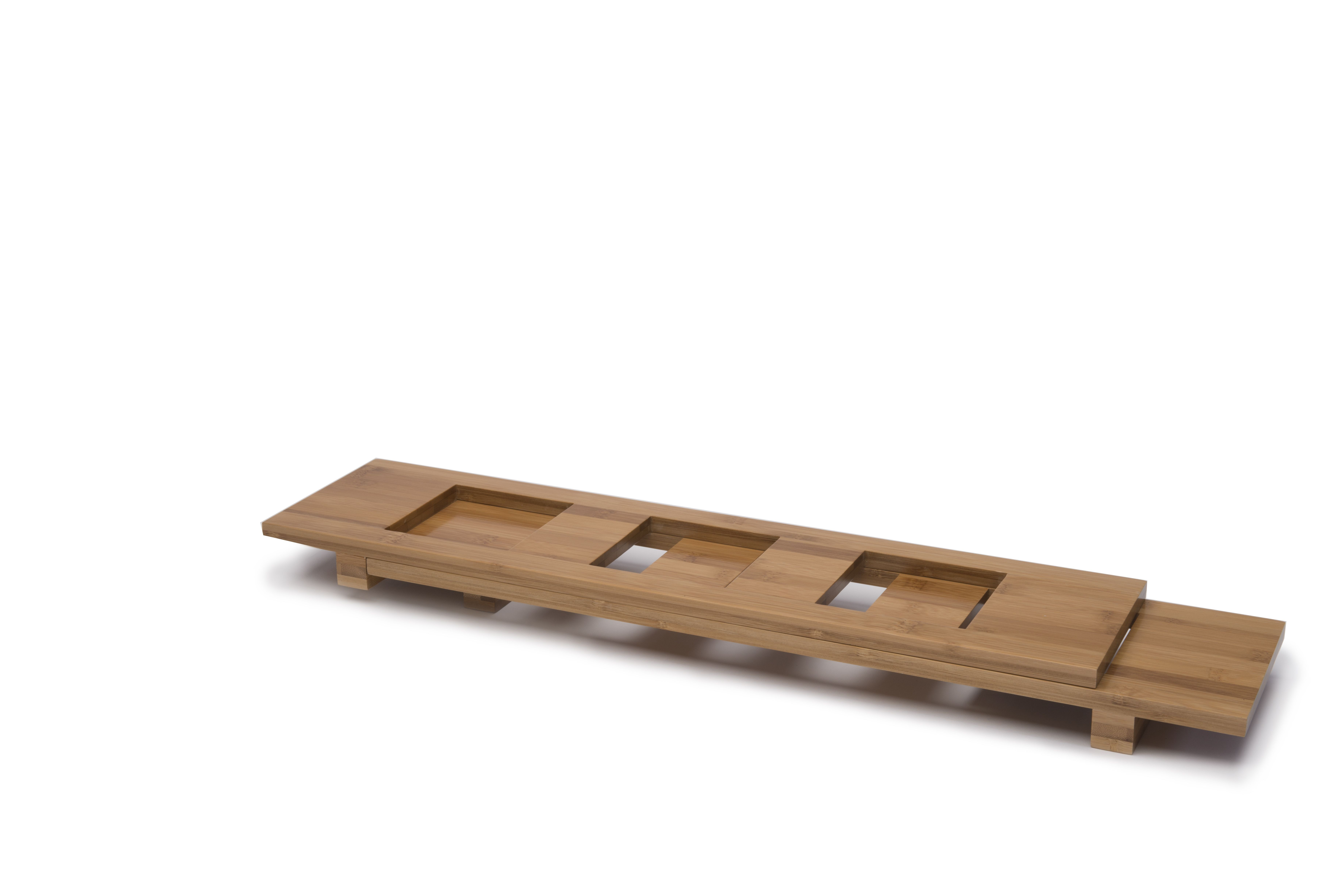 "Rosseto WP400 Natural Bamboo Rectangular Bowl Tray, Holds (3) 4.5"" Square Bowls"