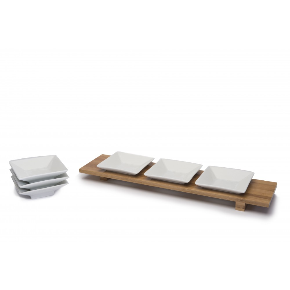 Bamboo Rectangular Bowl Tray X3 with 6 - 4.5