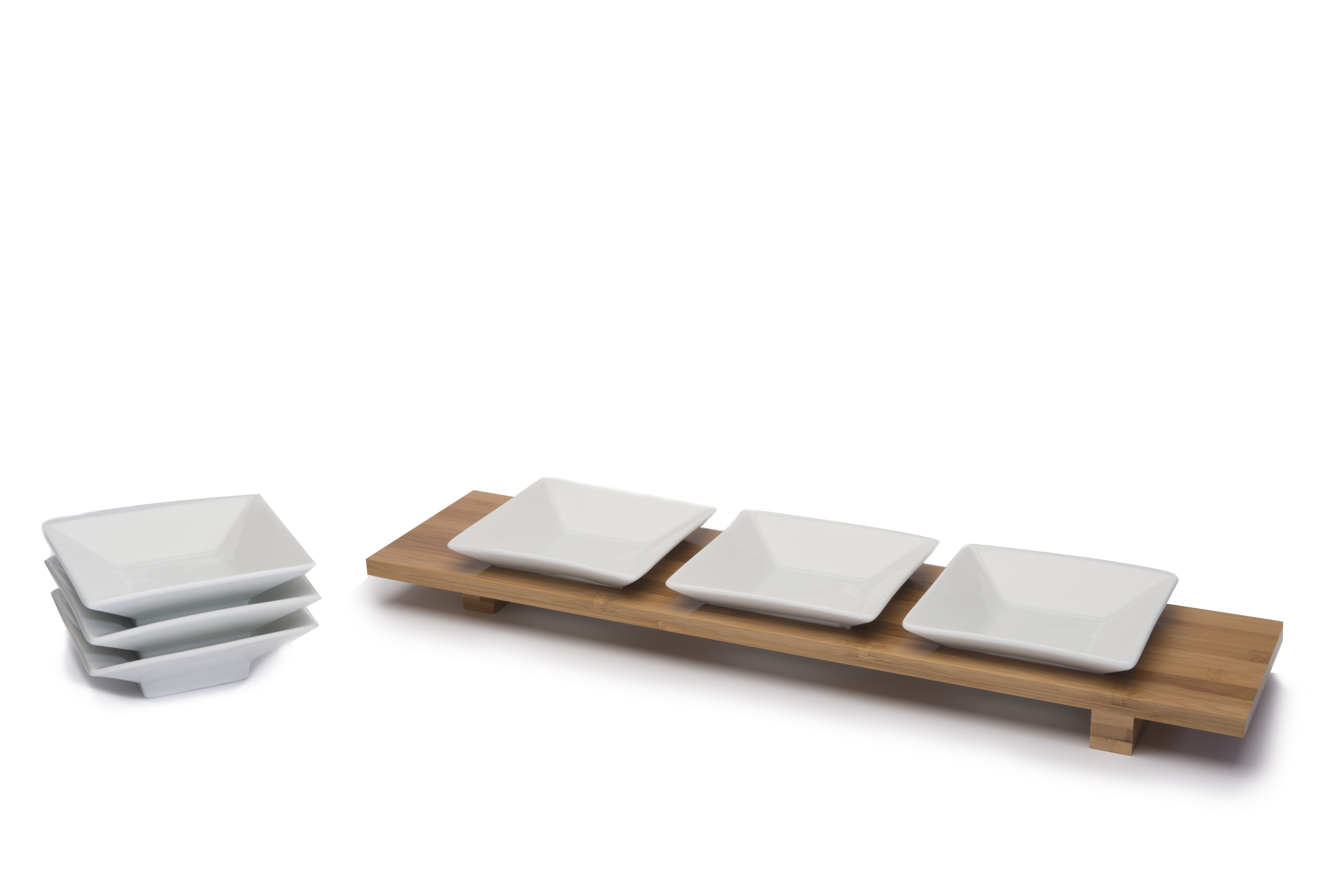 "Rosseto SK036 Bamboo Rectangular Bowl Tray with 4.5"" Square Trumpet Bowls"