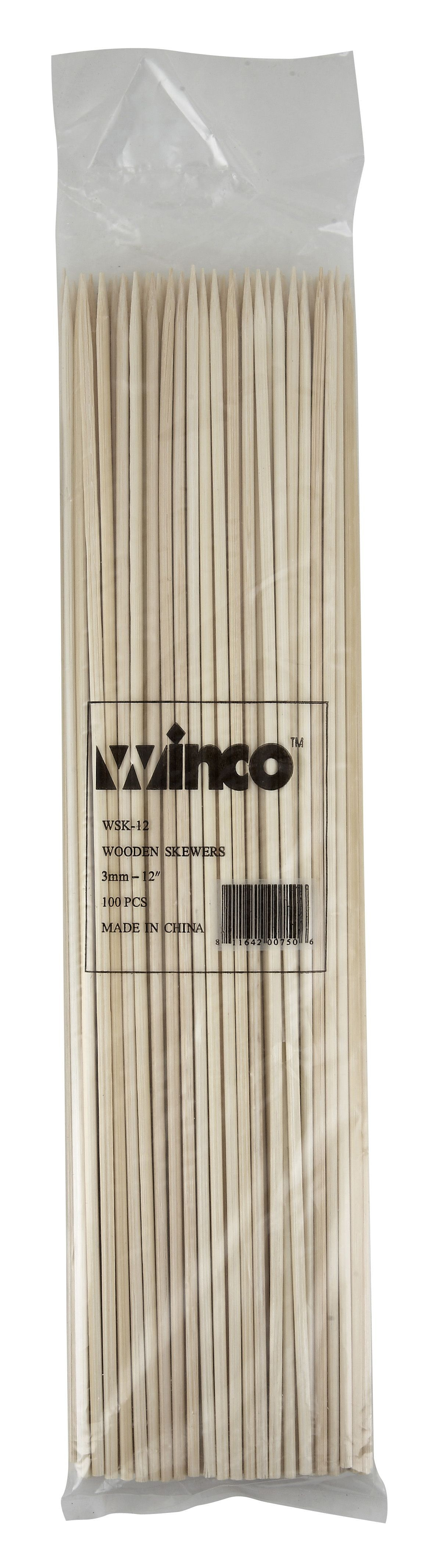 Winco WSK-12 Bamboo Skewers 12""