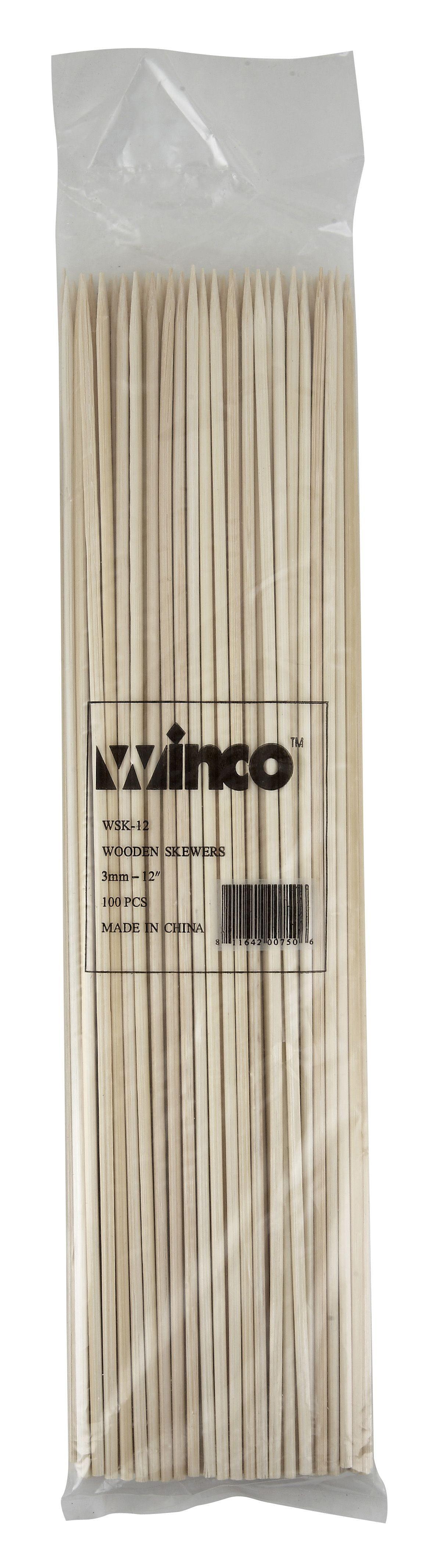 "Winco WSK-12 Bamboo Skewers 12"""