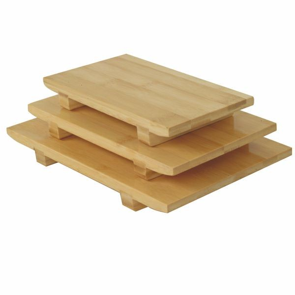 "Thunder Group WSPB002 Medium Bamboo Sushi Plate 9-1/2"" x 6"""