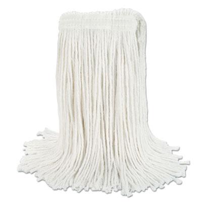 Banded Rayon Cut-End Mop Heads, White, 24 oz, 1 1/4