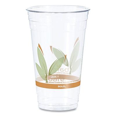 Bare RPET Cold Cups, Leaf Design, 24 oz, 50/Pack, 12 Packs/Carton