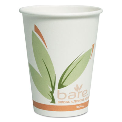 Bare by Solo Eco-Forward Recycled Content PCF Paper Hot Cups, 12 oz, 300/Carton