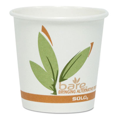 Bare by Solo Eco-Forward Recycled Content PCF Paper Hot Cups, 4 oz, 1,000/Carton