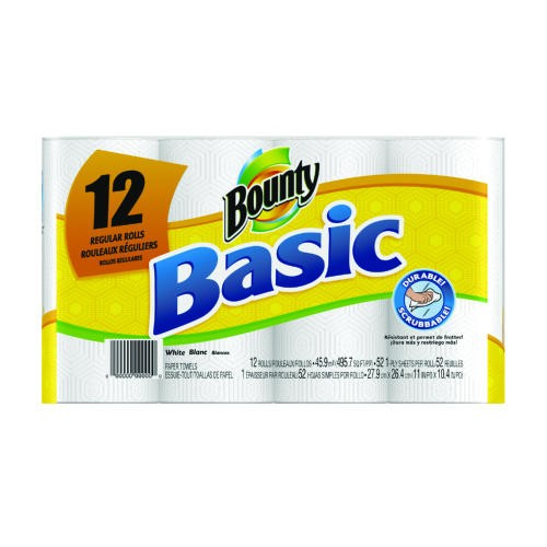 Basic Paper Towels, 12-Pack, 11 x 10 2/5, White, 52/Roll