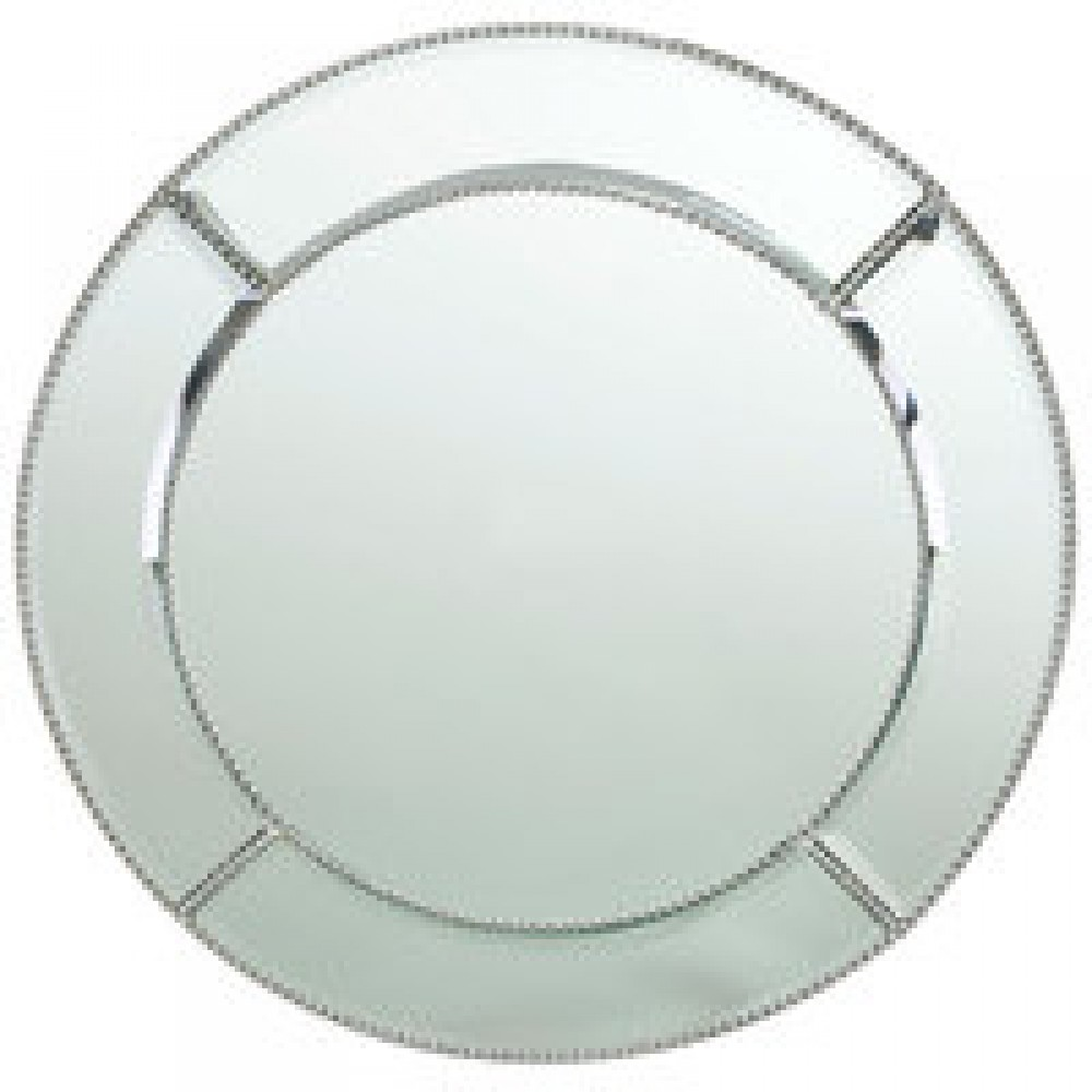 "Jay Import 1331682 Bead Mirror Glass 13""  Charger Plate"