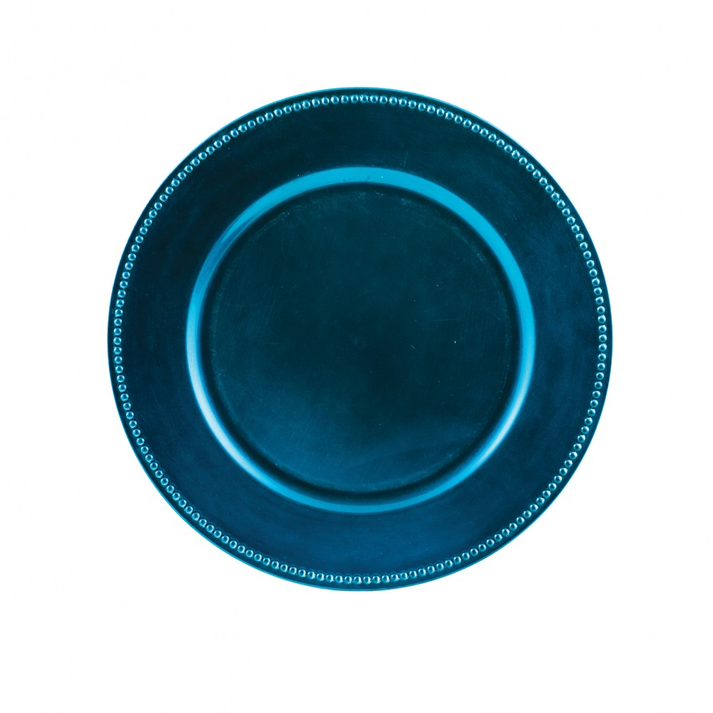"Royal Blue 13"" Beaded Charger Plate- box of 24"