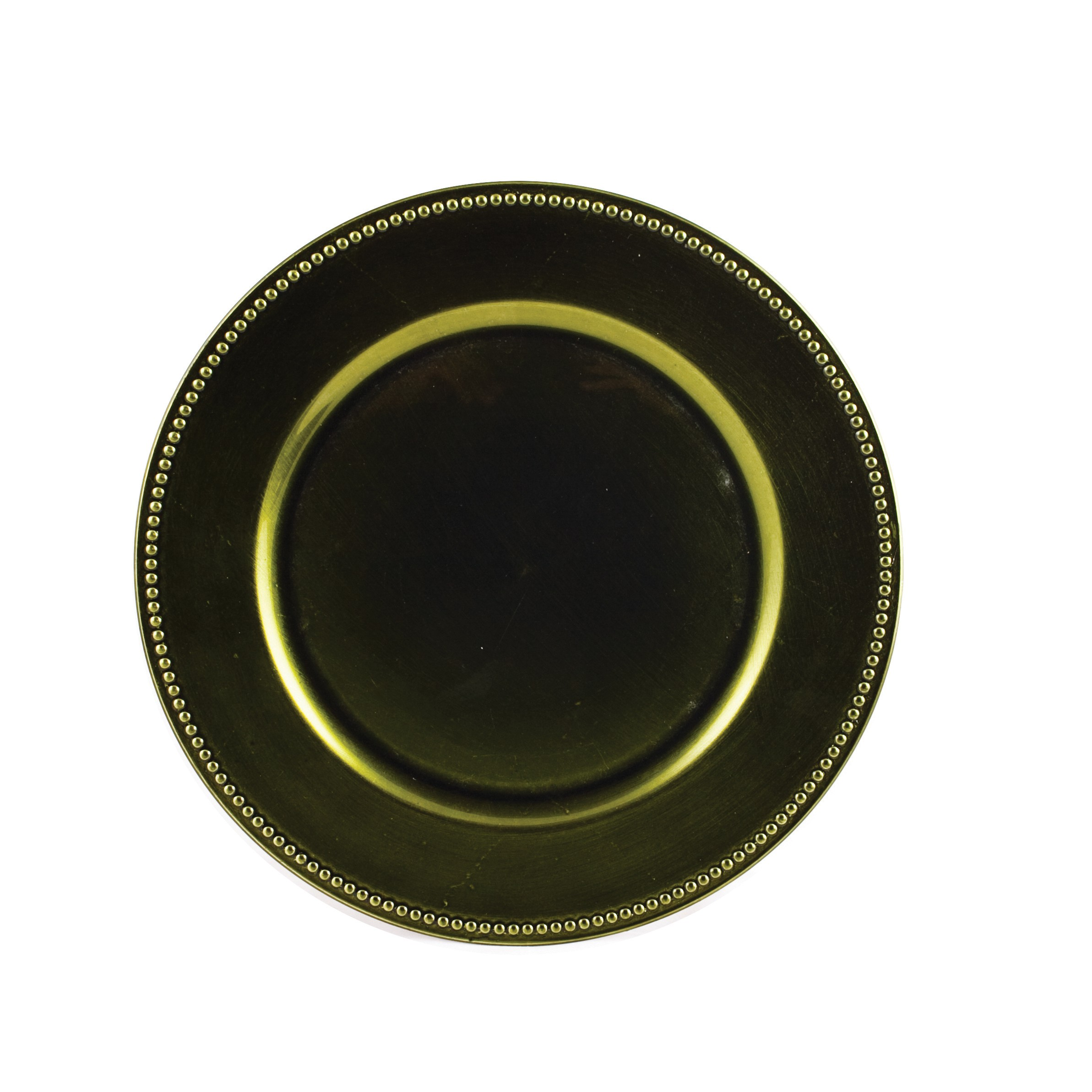 "Koyal 402082 Beaded Olive Green 13"" Charger Plate"