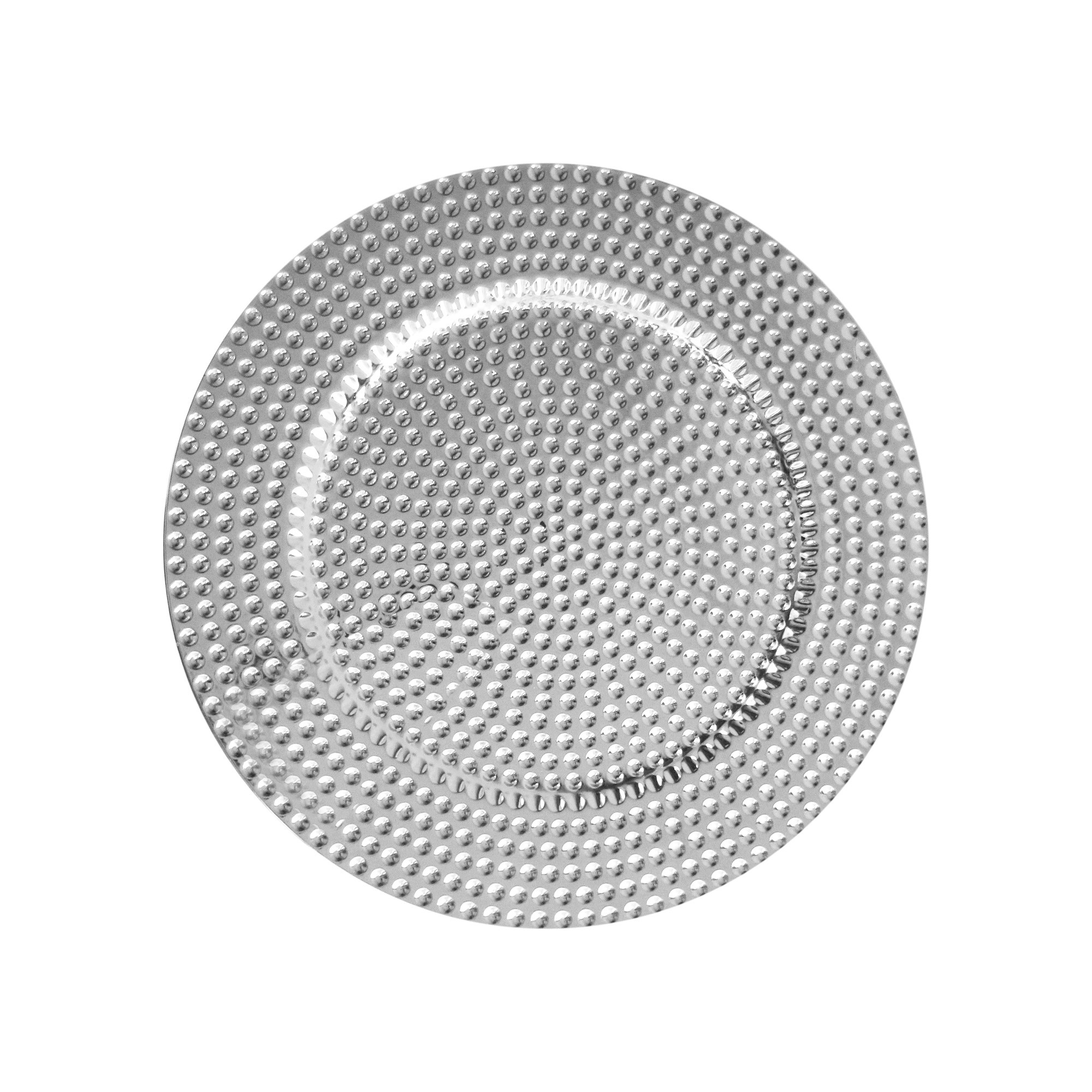"Jay Import 1270276-4 Beaded Silver Melamine 13"" Charger Plate"
