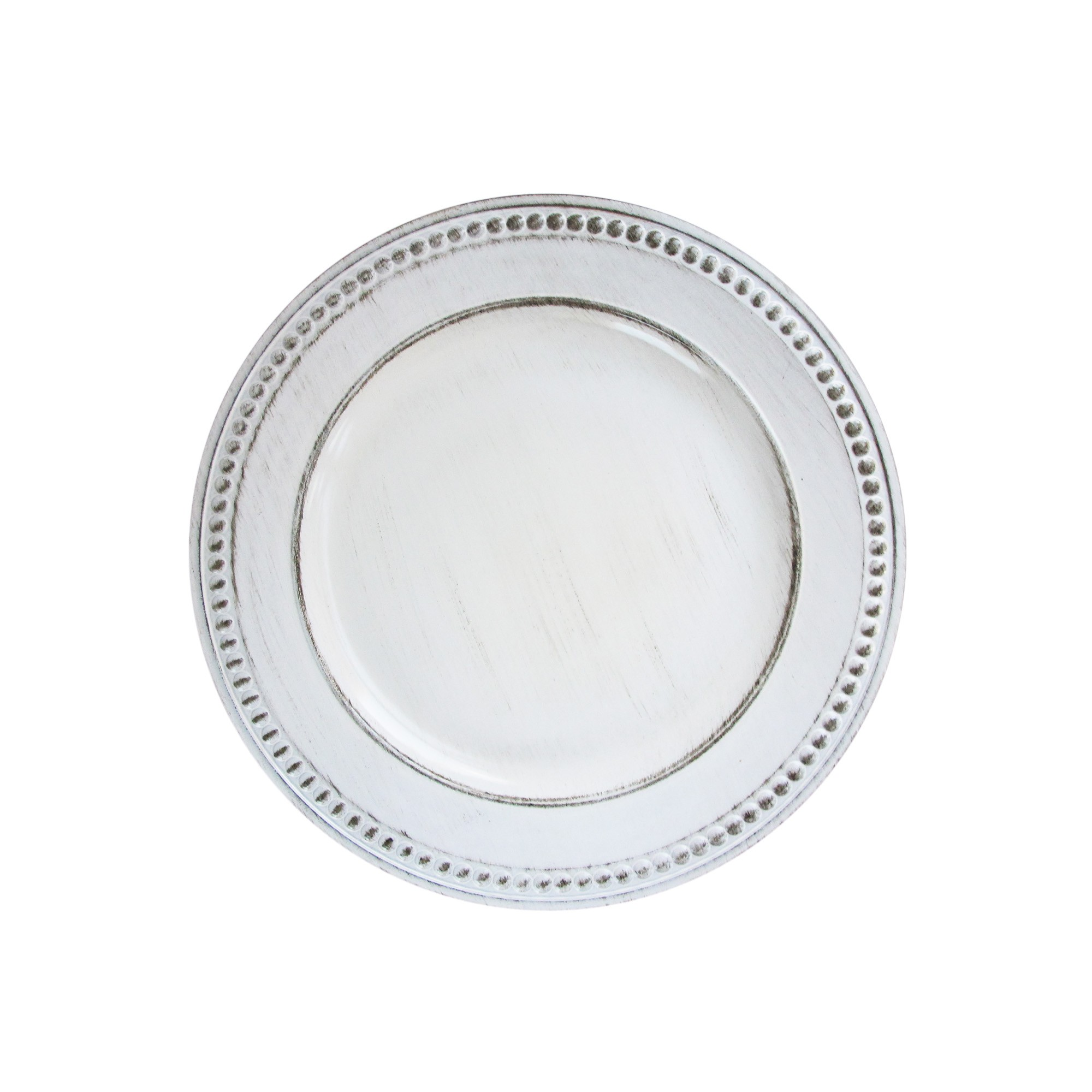"Jay Import 1270281 Beaded White Antique 14"" Charger Plate"