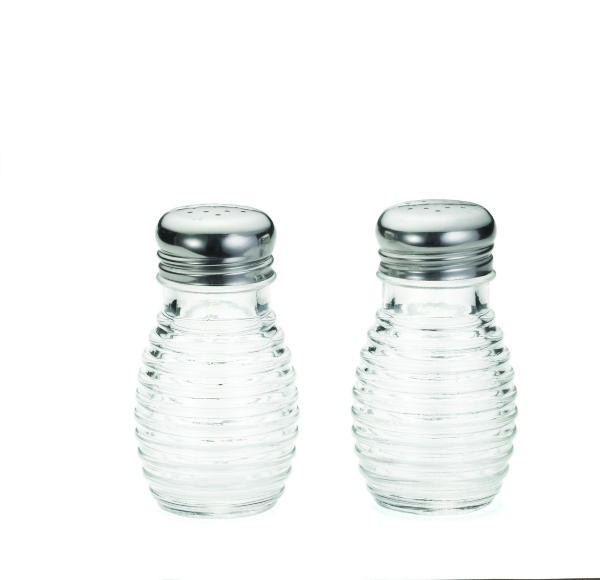 TableCraft BH2 Beehive 2 oz. Glass Salt & Pepper Shaker with Stainless Top