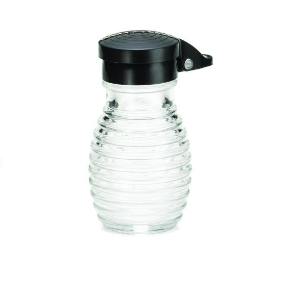 TableCraft BH2MPBK Beehive 2 oz. Glass Salt & Pepper Shaker with Black ABS Flip Top