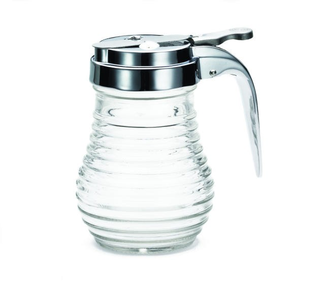 TableCraft BH7 Beehive 6 oz. Glass Thumb-Operated Dispenser with Chrome Top