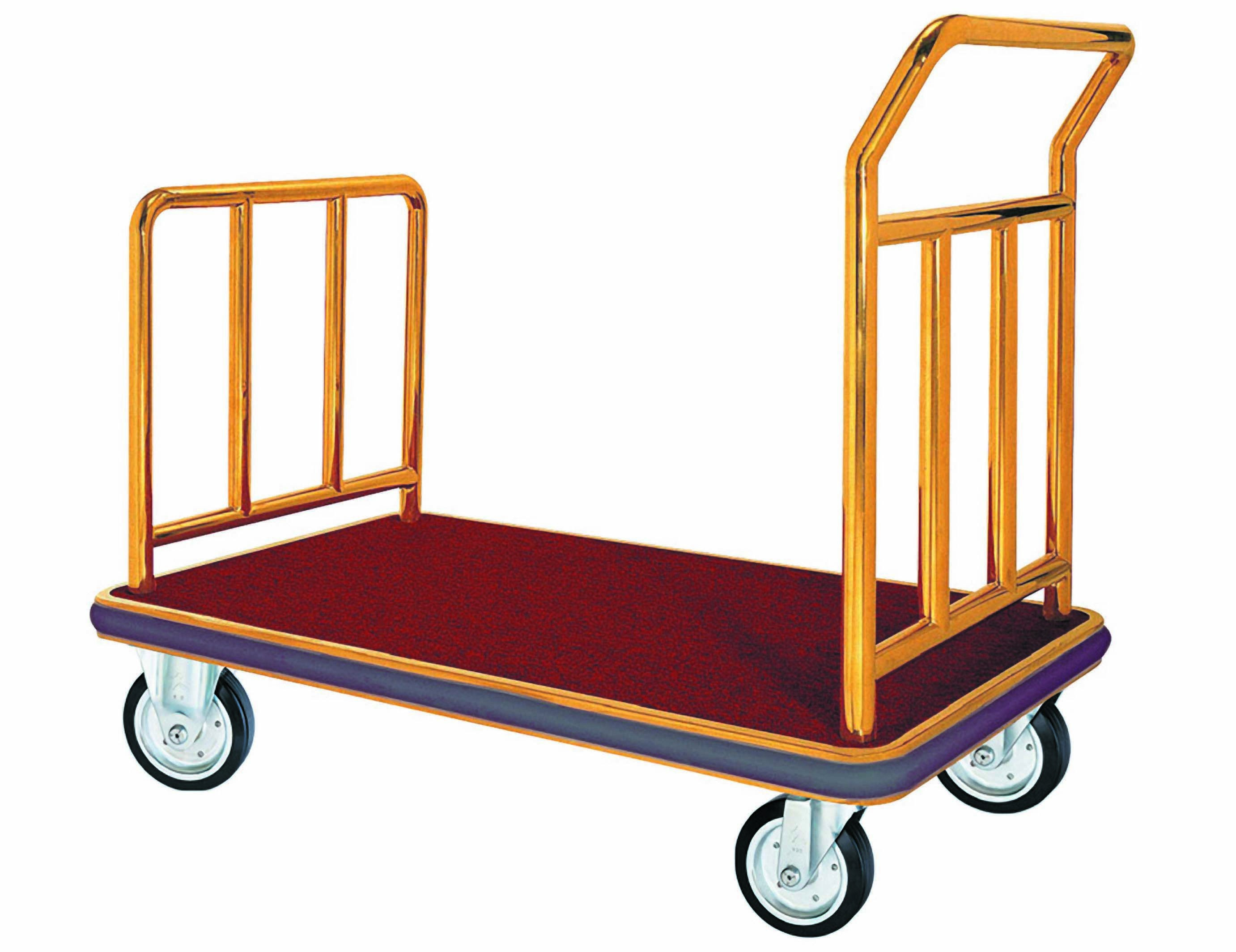 Aarco Products FB-1B Bellman's Hand Truck Luggage Cart with Carpeted Bed Brass Finish