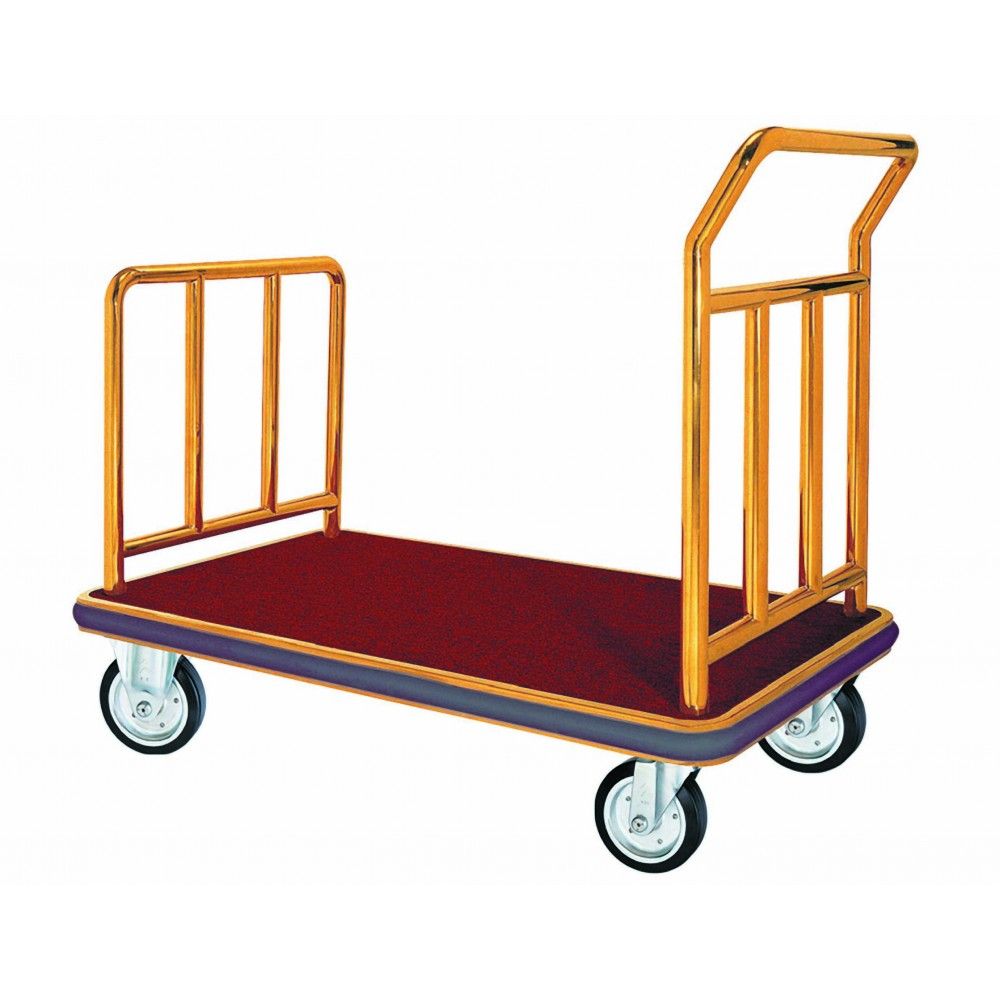 Bellman Luggage Cart - Brass W/carpeted Bed