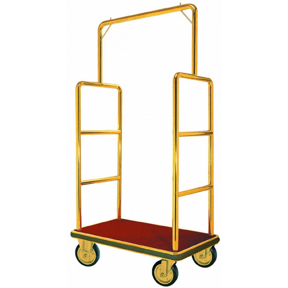 "Aarco Products LC-1B Bellman's Luggage Cart Brass with Carpeted Bed and Hanger Rail, 72""H"