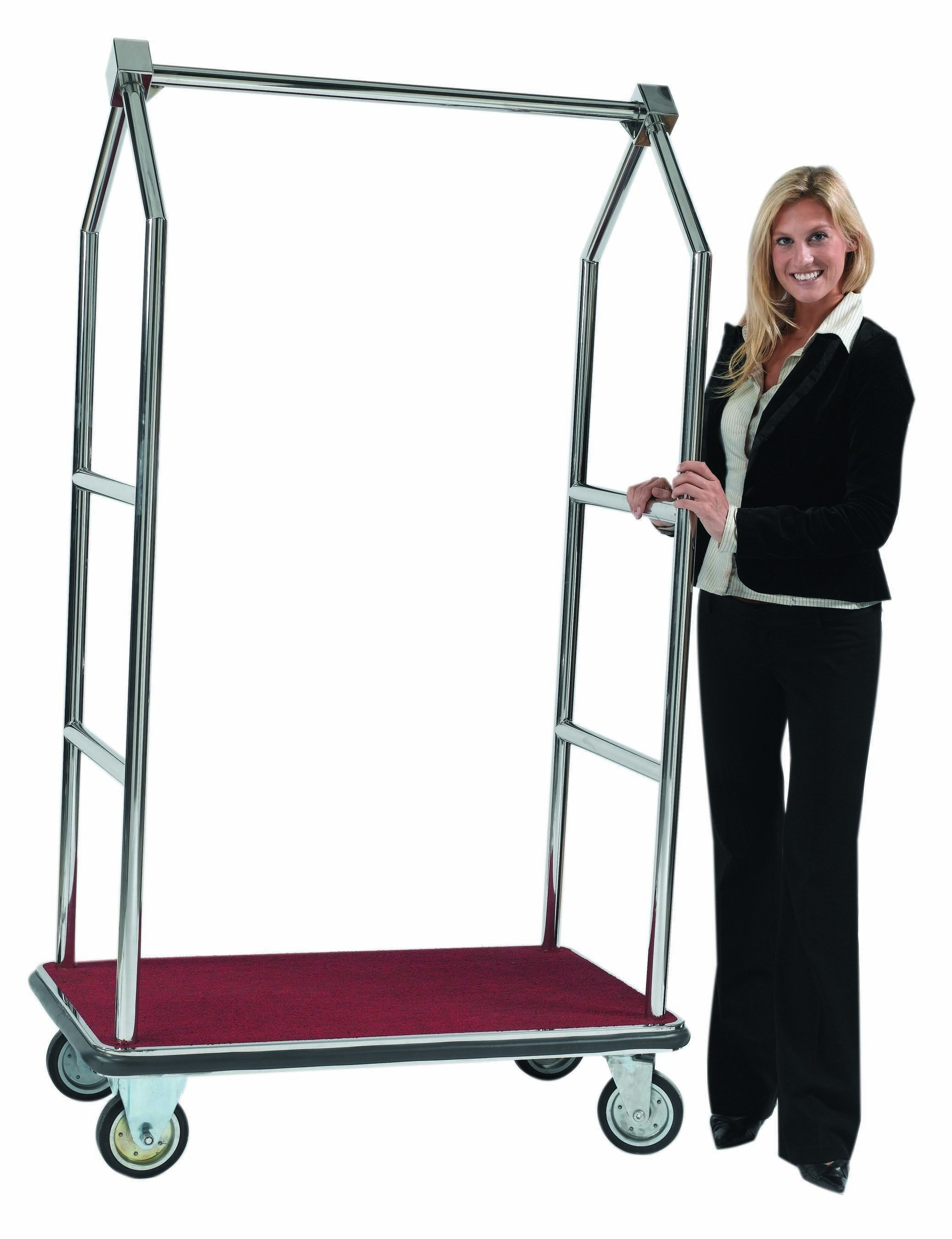 """Aarco Products LC-2C Bellman's Luggage Cart with Hanger Rail 72""""H"""