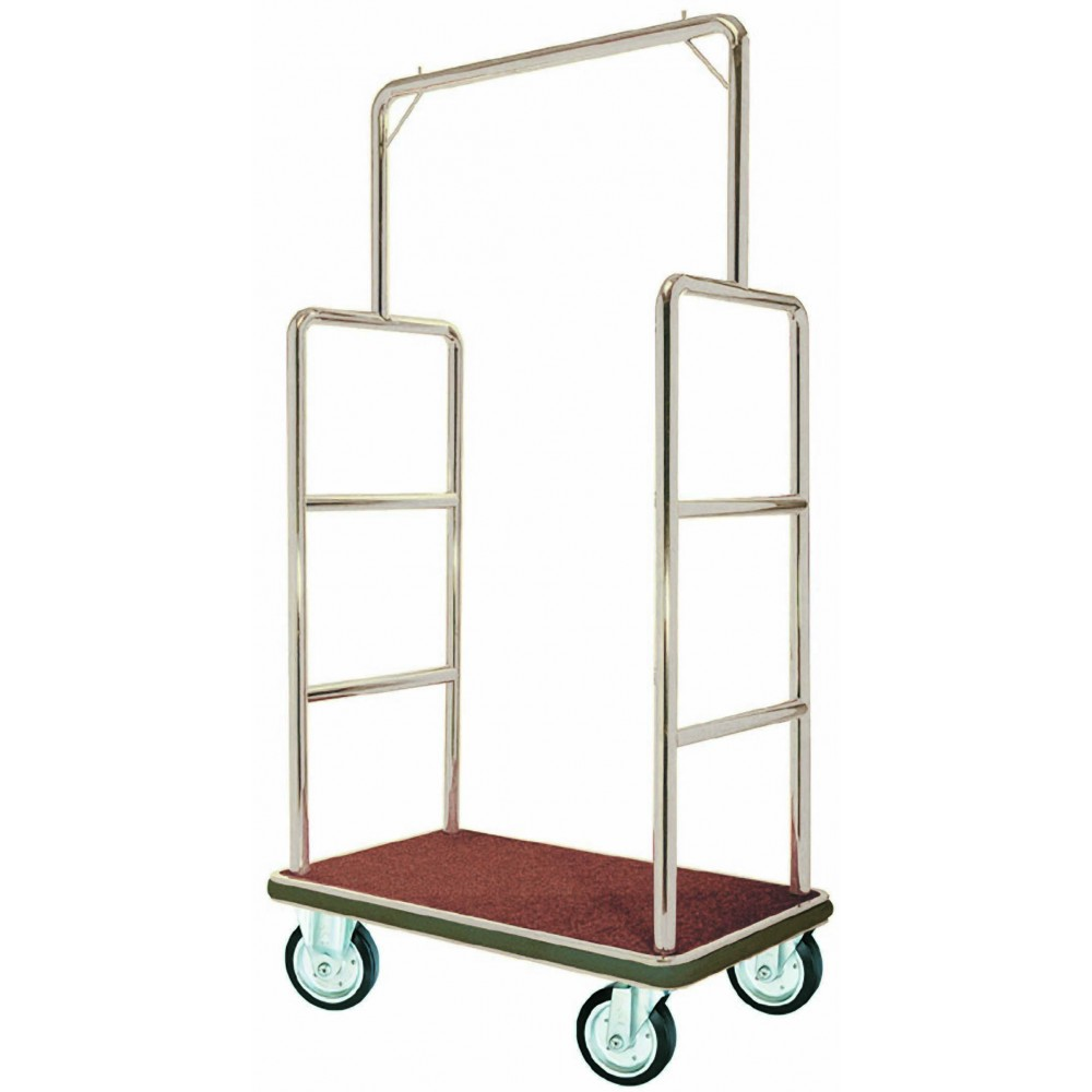 Bellman Luggage Cart - Chrome With carpeted bottom and Hanger Rail - 72